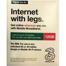 3 Mobile 12GB Pre-Loaded Data SIM
