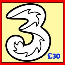 3 Mobile £30 Topup Voucher