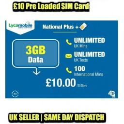 3GB Data + Unlimited UK Calls & Texts 1 x Lycamobile £10 Preloaded Bundle SIM