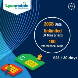 20GB Data + Unlimited UK Calls & Texts + 100 Intnl Mins Lycamobile PRELOADED Sim