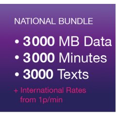3000 UK Minutes, 3000 UK Texts, 3000 MB Data and Unlimited Calls and Texts to Vectone