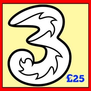 3 Mobile £25 Topup Voucher