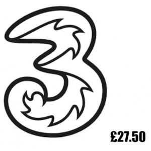 3 Mobile £27.50 Topup Voucher Code