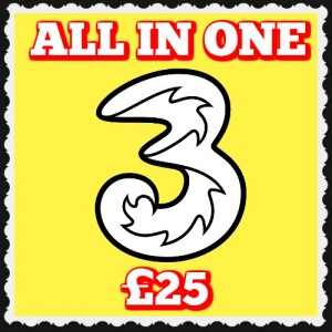 3 Mobile All-In-One-25 Free Sim and Postage