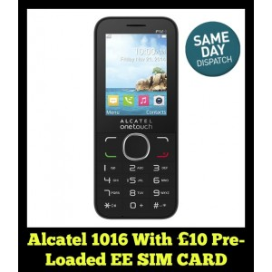 Alcatel 1016 Unlocked Phone with £10 pre-loaded EE SIM Card
