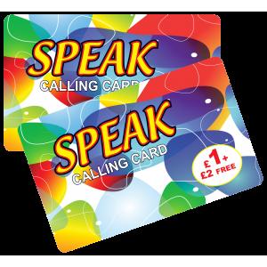 Speak £1 + £2 Free International Calling Card