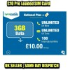 3GB Data + Unlimited UK Calls & Texts 1 x Lycamobile £10 Preloaded Bundle SIM