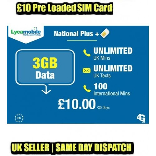 3GB Data + Unlimited UK Calls & Texts 1 x Lycamobile £10