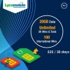 20GB Data + Unlimited UK Calls & Texts + 100 Intnl Mins Lycamobile PRELOADED Sim